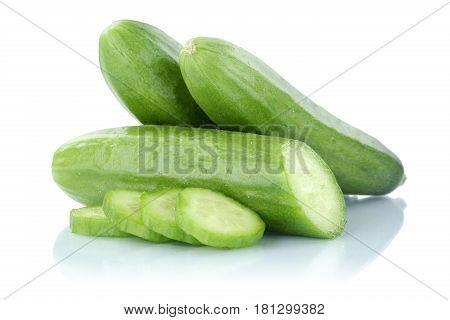 Cucumbers Sliced Slice Fresh Vegetable Isolated