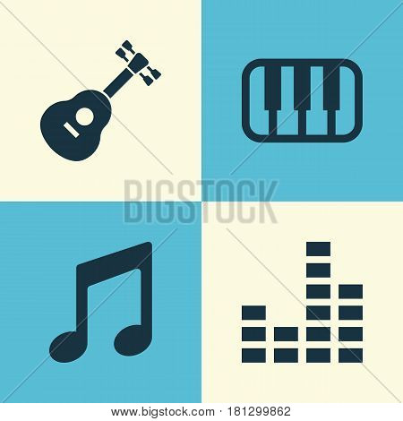 Audio Icons Set. Collection Of Octave, Instrument, Music And Other Elements. Also Includes Symbols Such As Octave, Guitar, Piano.