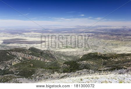 An Aerial View of Sierra Vista Arizona from Carr Peak in the Huachuca Mountains
