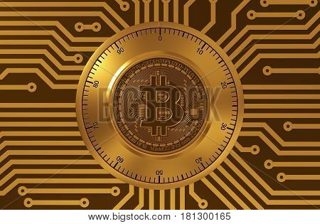 Concept Of Bitcoin Like A Electronic Security Lock. 3D Illustration.