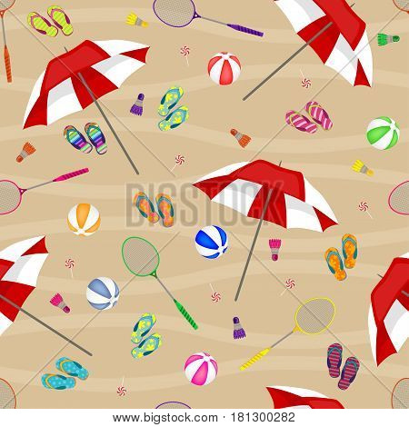 Seamless Background Of Badminton Rackets, Balls, Umbrellas, Beach Slippers And Shuttlecocks. Pattern