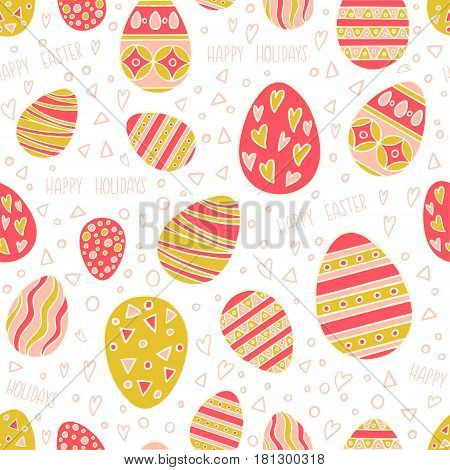 Seamless pattern with hand drawn Easter eggs. Colorful holidays pattern in line style can use for wrapping paper holidays background