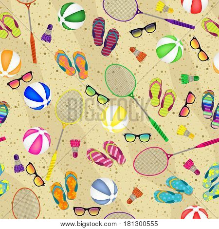 Let's Play Badminton. Seamless Background Of Badminton Rackets, Balls, Beach Slippers, Glasses And S