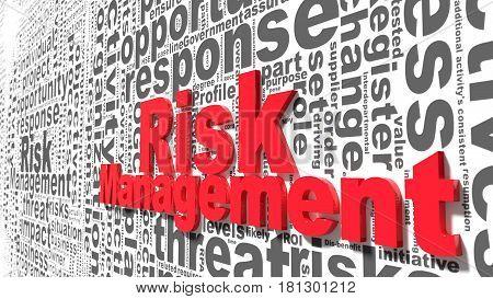 Grey risk management keywords wordcloud on wall business concept 3d illustration