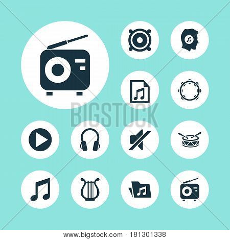 Multimedia Icons Set. Collection Of Silence, Timbrel, Tuner And Other Elements. Also Includes Symbols Such As Earmuff, Start, File.