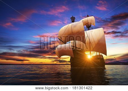 Caravel On The Sunset Background. 3D Illustration.