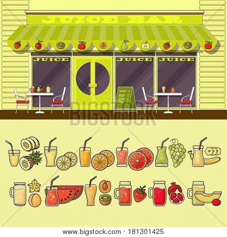 Juice bar and set of cute various colorful food and drink icons. Flat design vector illustration of small business concept. Stylish fruit boutique. Store design template.