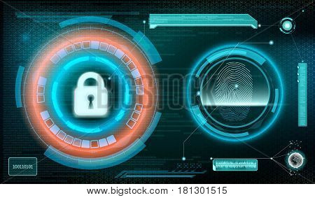 Technology background. Storage and protection of information. Stock vector illustration.