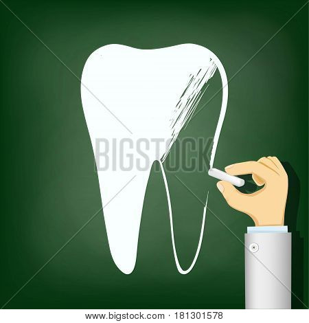Human hand with chalk drawing a tooth. Stock vector illustration.