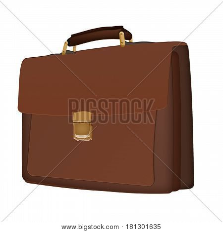 Business brown briefcase on a white background. Flat icon with briefcase on background