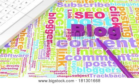 Computer keyboard on white desk with blog keywords wordcloud and purple pen blogging concept 3d illustration
