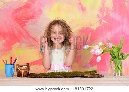 Happy Girl Painter With Pencil, Easter Egg And Tulip Flowers