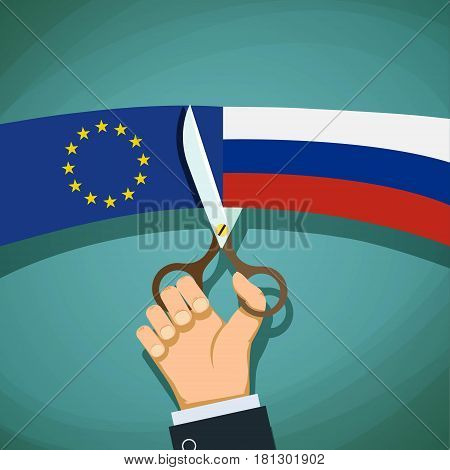 Human hand with scissors cuts the flag of Russian and the European Union. Stock vector illustration.