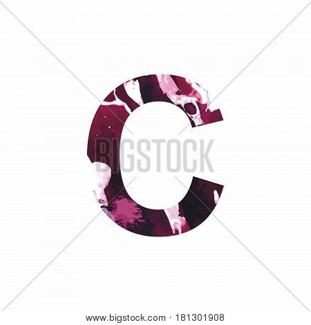 Abstract letter C on a white background in the form of stains of paint. Reminiscent of marble
