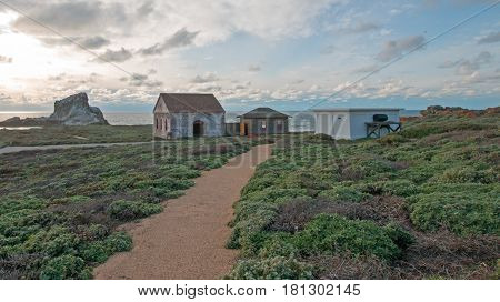 Red Brick Fog Signal Building at Piedras Blancas Lighthouse point on the Central Coast of California USA