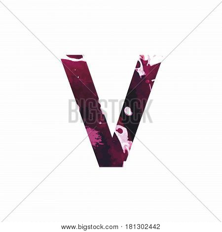 Abstract letter V on a white background in the form of stains of paint. Reminiscent of marble
