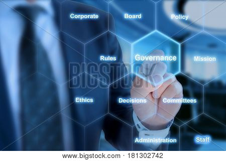 Businessman in blue suit in front of office background clicking tile with the word governance in hexagon grid
