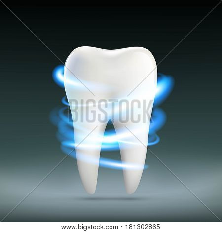 Human white tooth. Dentures in stomatology. Stock vector illustration.