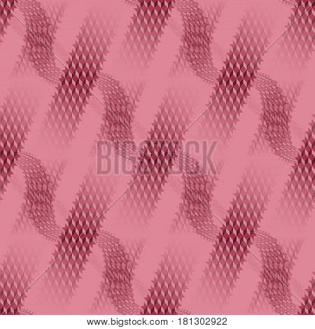 Abstract geometric seamless modern background, dimensional waffle-weave pattern. Regular stripes and wavy lines diagonally in pink and red shades on pink, blurred.