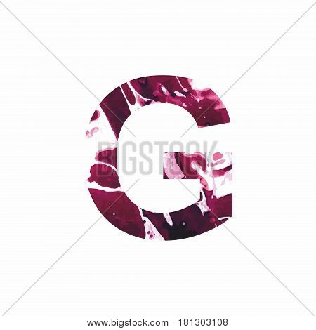Abstract letter G on a white background in the form of stains of paint. Reminiscent of marble
