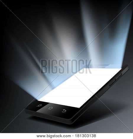 Smartphone with a white glowing screen. Stock vector illustration.