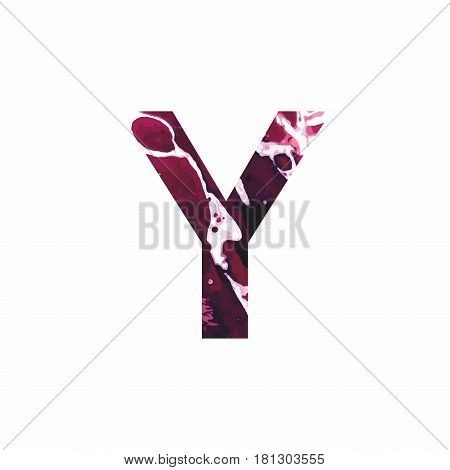 Abstract letter Y on a white background in the form of stains of paint. Reminiscent of marble