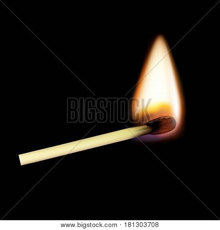 Wooden match on fire. Isolated on a black background. Stock vector realistic illustration.