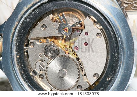 Gears and a pendulum with a spring to support a constant movement in the clock mechanism