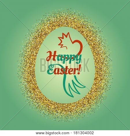 Composition with a shiny gold glitter frame around a big Easter egg with a congratulatory text and stilized chicken inside. Celebration post card with border