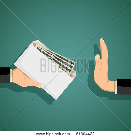 Man giving a bribe in an envelope. Stock vector illustration.