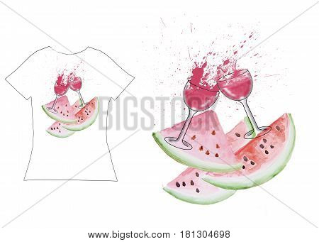 A watermelon t-shirt print with no words