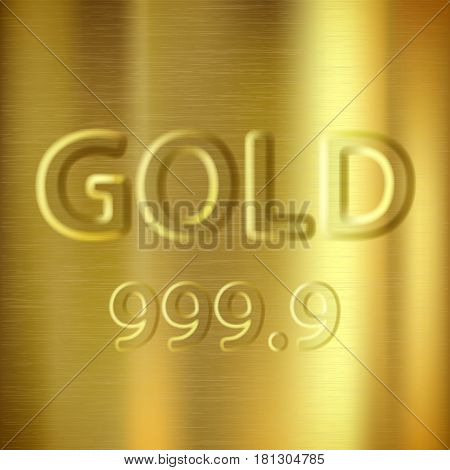 Gold bullion with a stamp. Precious background. Stock vector illustration.