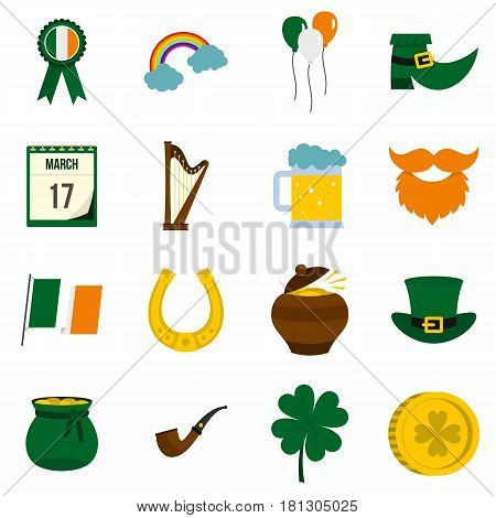 Saint Patrick icons set in flat style isolated vector illustration