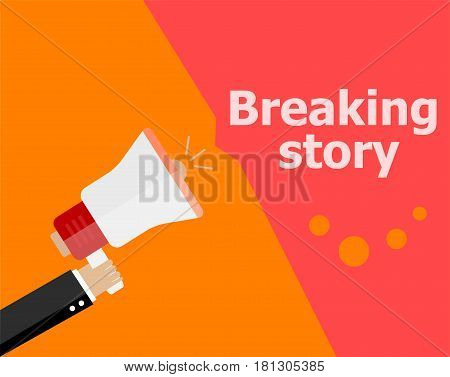 Flat Design Business Concept. Breaking Story. Digital Marketing Business Man Holding Megaphone For W