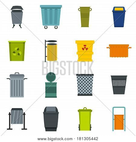 Garbage container icons set in flat style isolated vector illustration