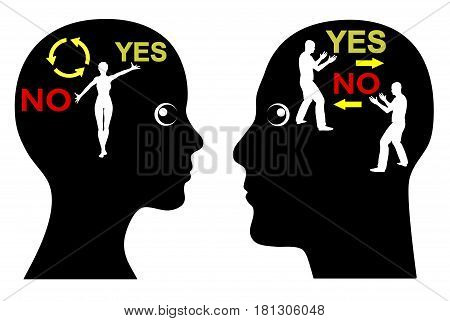 Ambiguous or distinct Message. Man and Woman with different communication style, clear versus confusing