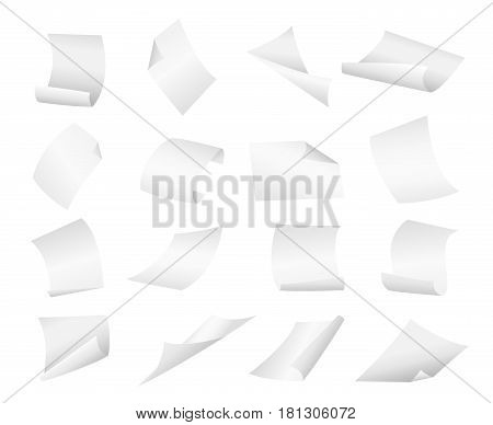 Blank paper sheets falling down. Illustration on white background.Flying blank paper sheets with curved corner. Vector page on white background illustration