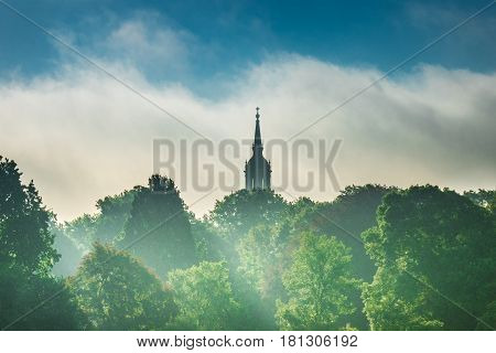 Spire Of Church Above The Trees In City Dresden
