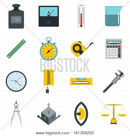 Measure precision icons set in flat style isolated vector illustration