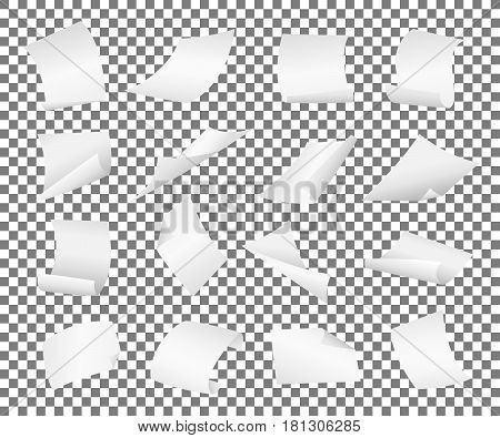 Blank paper sheets falling down. Illustration on white background.Flying blank paper sheets with curved corner. Vector page on transparent background illustration