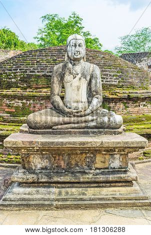The Ancient Statue Of Lord Buddha In Polonnaruwa