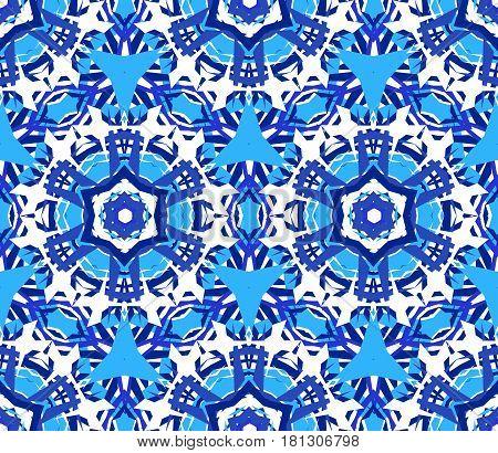Kaleidoscope Flower Pattern. Seamless blue background. Mandala geometric graphic print. Psychedelic design element for wallpaper, scrapbooking, fabric. Vector illustration