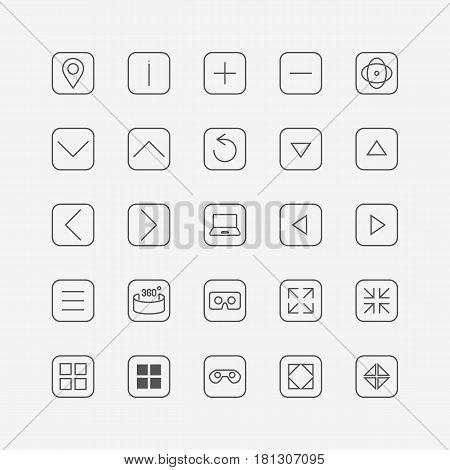 Virtual tour. Set of icons for your design