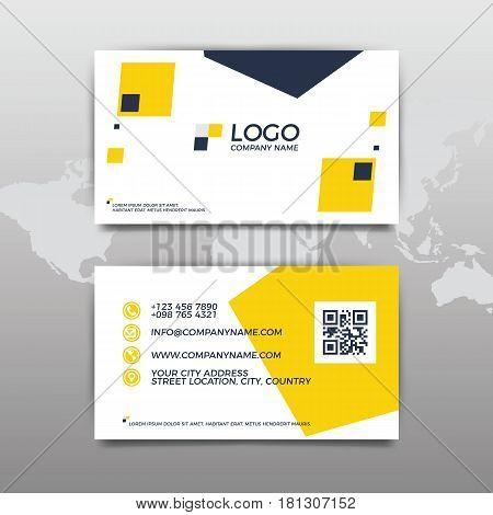 Modern simple business card template. Flat Design. Vector Illustration