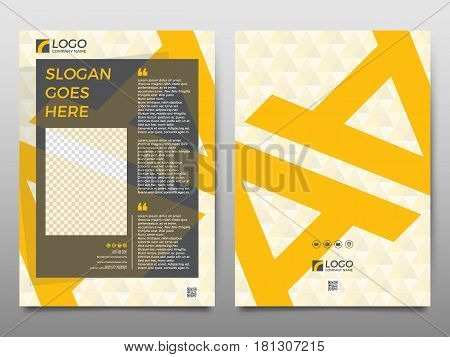 Business vector set. Brochure template layout cover design magazine flyer in A4 with colourful geometric shapes squares triangles arrows for IT business building. Abstract.