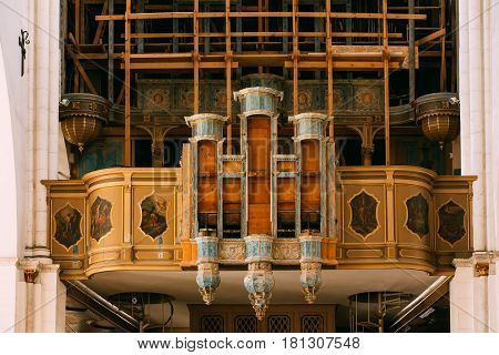 Riga, Latvia - July 2, 2016: Riga, Latvia. Old Organ In The Riga Dom Dome Cathedral Church.