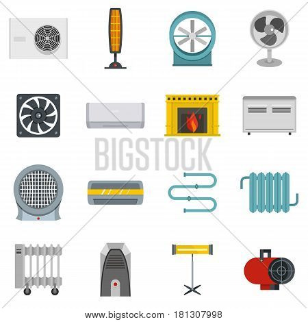 Heating cooling air icons set in flat style isolated vector illustration