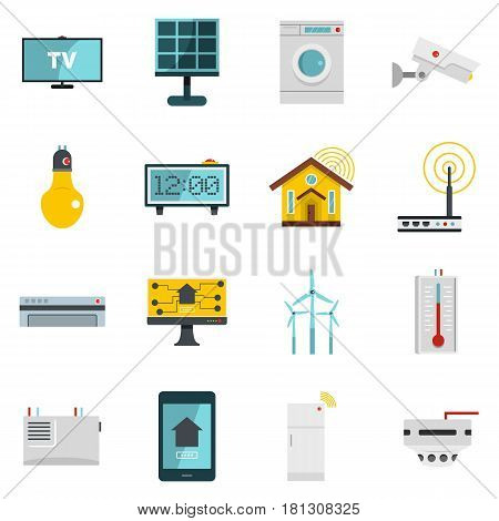 Smart home house icons set in flat style isolated vector illustration