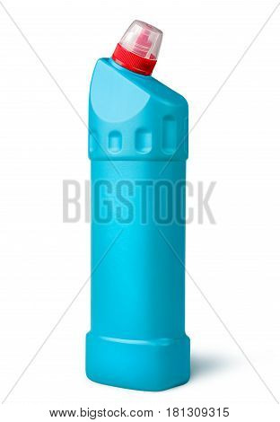 Disinfectant in a plastic bottle rotated isolated on white background