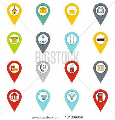Points of interest icons set in flat style isolated vector illustration